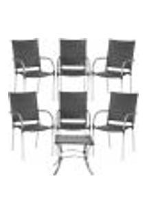 Jogo Cadeiras 6Un E Mesa De Centro Polonia Para Edicula Jardim Area Varanda Descanso - Preto