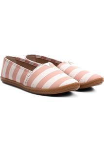 Alpargata Moleca Textura Corda Listrada Feminina - Feminino-Rosa+Branco