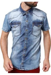 Camisa Jeans Manga Curta Masculina Azul
