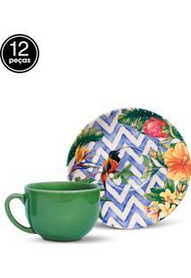 Conjunto 12Pçs Xícaras De Chá Porto Brasil Coup Summer Branco