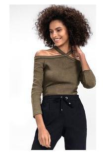 Blusa Em Malha De Viscose Com Ombros A Mostra - Verde Musgo