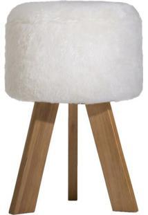 Puff Antônia- Natural & Off White- 49Xø32,5Cm- Ttecnomobili