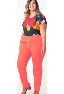 Calça Lisa Almaria Plus Size Munny Detalhe Nervura