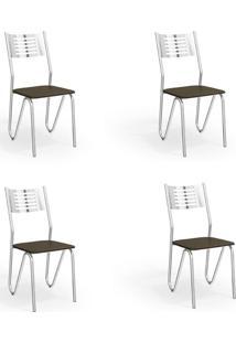 Conjunto Com 4 Cadeiras De Cozinha Napoles Cromado E Marrom