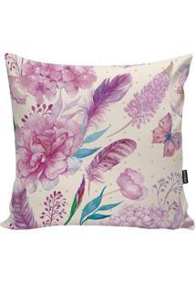 Capa Para Almofada Flowers- Rosa & Lilás- 45X45Cm