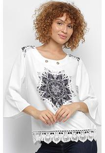 Blusa Pérola Bata Mandala Feminina - Feminino-Branco+Preto