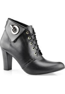 Coturno Ankle Boots Couro Salto Alto Gabriela Sanches 5029997