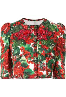 Dolce & Gabbana Jaqueta Cropped Com Estampa Portofino - Vermelho