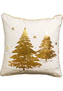 Capa Para Almofada Arvores- Branco & Dourado- 15X45Xcromus