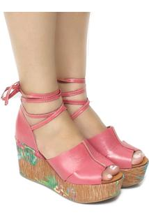 Sandália Zariff Shoes Anabela Lace Up Rosa