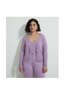 Casaco Cardigan Em Tricô Curto Com Decote V Curve & Plus Size