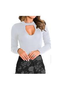 Body Choker Feminino Collant Blusa Feminina Viscolycra Gota Com Elastano Branco