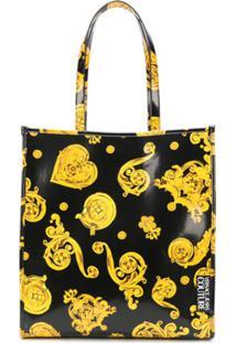 Versace Jeans Couture Baroque Print Logo Patch Tote Bag - Preto