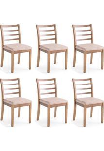 Conjunto Com 6 Cadeiras De Jantar Capri Marrom Claro E Imbuia