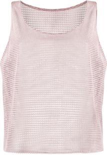 Forte Dei Marmi Couture Blusa De Couro Com Mesh - Rosa