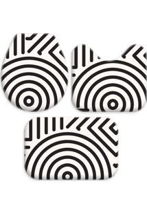 Jogo Tapetes Love Decor Para Banheiro Abstrato Modern Off White/Preto - Kanui