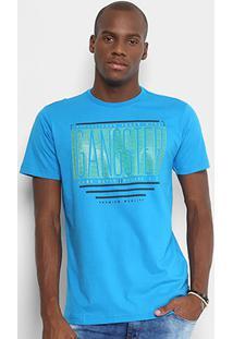 Camiseta Gangster Estampada Frase Masculina - Masculino-Azul