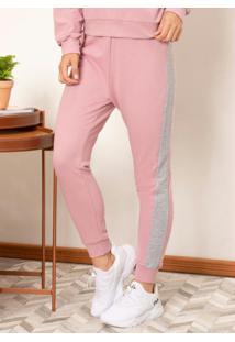 Calça Confort Rosa E Mescla Com Faixa Lateral