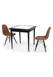 Conjunto Mesa De Jantar Em Madeira Preto Prime Com Azulejo + 2 Cadeiras Botonê - Marrom