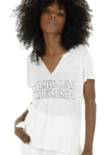 Camiseta Malha Podrinha Decote V E Silk - Branco - Feminino - Dafiti
