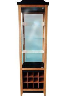Cristaleira Com Porta De Vidro E Adega - Detalhe Escovado - Tommy Design