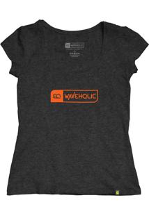 Blusa Sustentável Waveholic Preto Mescla (Grafite) Logo Laranja - Kanui