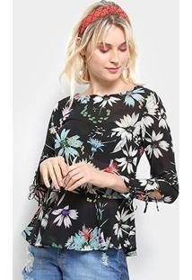 dd3ed52c5 R$ 59,99. Zattini Blusa Top Moda Bata Floral Manga Longa Feminina - Feminino -Preto