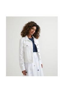 Jaqueta Em Sarja Com Bolsos Embutidos | Marfinno | Branco | Pp