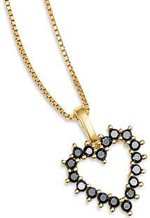 Pingente Coração Ouro Amarelo E Diamantes Negros