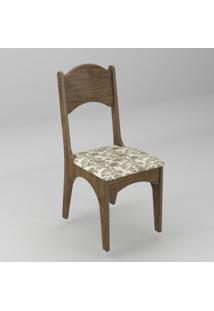 Cadeira Com Assento Estofado Ca18 Dalla Costa - Caixa Com 2 Unidade - Nobre/Floral Claro