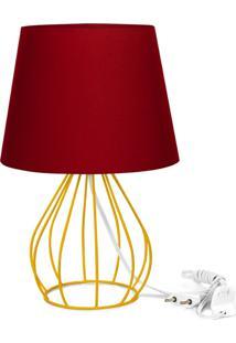 Abajur Cebola Dome Vermelho Com Aramado Amarelo
