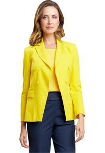 Blazer Mx Fashion Alfaiataria De Linho Rafaella Amarelo