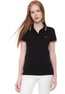 Camisa Polo Calvin Klein Jeans Reta Logo Preta