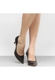 Scarpin Shoestock Snake - Feminino-Preto