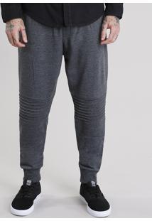Calça Masculina Jogger Em Moletom Com Recortes Cinza Mescla Escuro