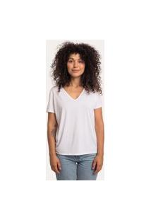 Camiseta Decote V Ampla Em Modal Branca Branco