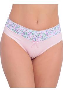 Calcinha Tj Vip Lingerie Em Cotton Com Cós Estampado Rosa