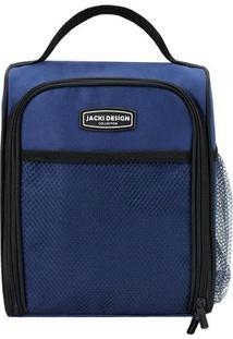 Bolsa Térmica Com Alça De Mão- Azul Escuro & Preta- Jacki Design