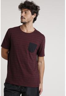 Camiseta Masculina Básica Listrada Com Bolso Manga Curta Gola Careca Vinho