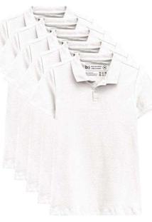 Kit De 5 Camisas Polo Femininas Branco