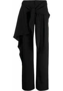 Chloé Calça Pantalona Com Amarração Frontal - Preto