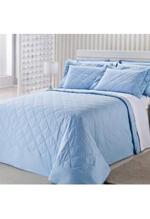 Colcha Royal Comfort Matelasse 233 Fios Solteiro Azul Plumasul