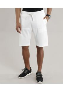 Bermuda Relaxed Com Recortes Off White