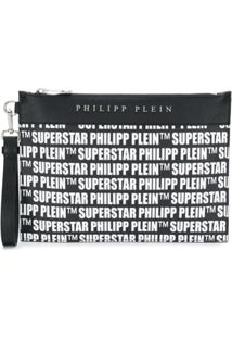 Philipp Plein Clutch Superstar Com Zíper - Preto