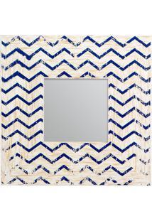 Espelho Com Moldura- Espelhado & Azul Escuro- 24X1,2Decor Glass