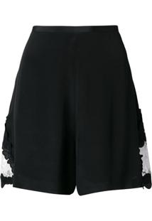 See By Chloé Black Wide Leg Shorts - Preto