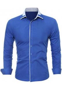 Camisa Masculina Slim Fit Manga Longa - Azul