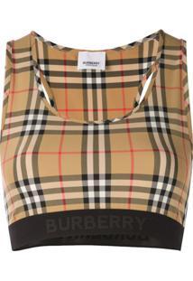 Burberry Sutiã Xadrez - Marrom