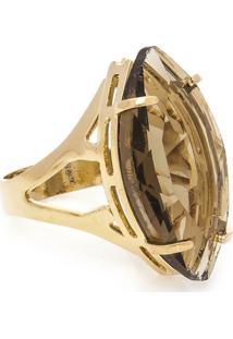 Anel Banho De Ouro Cristal Navete - Feminino-Fumê