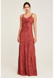 Vestido Nature Rubinella Longo Laço Feminino - Feminino-Vermelho+Branco